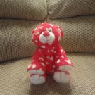 2008 Ty Pluffies Dreamly White Hearts Red Tylux Bear Lovey Plush 8.5&quot;