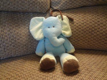 """Carters Just One Year Blue Elephant Musical Go To Sleep  Baby Crib Pull Toy 13"""""""