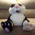 WT JooJoo Timmy Cat #26303 Black White Red Collar Kitty Cat Lovey Plush 8""