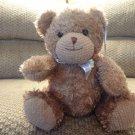 "WT Carters Tykes Tan Teddy Bear Lovey Plush Animal Print White Bow Rattles 8"""