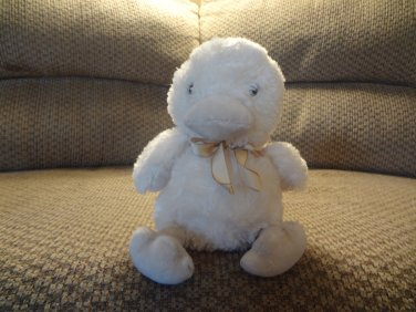 Carters Prestige Cream Tan Gold Bow Duck Duckling Lovey Plush 8""