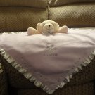 Carters Tan Teddy Bear Lavender Princess Rattles White Satin Security Blanket 18 x 18""