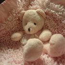 NWT Large Stephan Baby Pink Nubby Chenille Satin Teddy Bear Security Blanket 19.5 x 20""