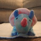 2005 Ty Pluffies Blue and Pink Triceratops Dinosaur Tromps Lovey Plush 13""