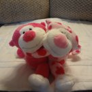 2005 Ty Romeo & Juliet Hot Pink Hearts Hugging Monkey Plush 5""