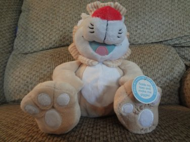 WT 2008 Nuby Hugs N Tickles Tan Lion Laughing Lovey Plush
