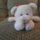 Preferred Plush #P2702 Pink White Spotted Mauve Chiffon Bow Bear Lovey Plush