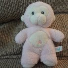 Aurora Baby Pink Cream Monkey Rattles Lovey Plush 7""