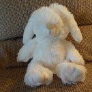 "Little Miracles White Bunny Rabbit Black Sewn In Eyes Lovey Plush 12"""