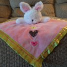 "Carters One Size Three Hearts White Bunny Rabbit Pink Rattle Security Blanket 14""x14"""