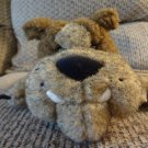 2001 Manhattan Toy Brown Floppy Beanbag Wooly Bulldog Plush 9""
