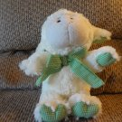 Animal Adventure Soft White Wooly Lamb White Green Gingham Bow Ears Feet Lovey Plush 12""