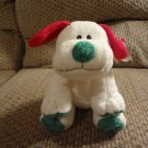 WMT 2002 Ty Pluffies Frost Puppy Dog Lovey Plush Red Green White Tylux Black Button Eyes 11""