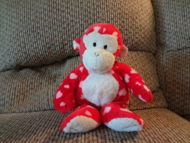 """2006 Ty Pluffies Harts Red White Hearts Tylux Monkey Lovey Plush 11"""""""