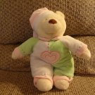 Baby Ganz Bedtime Bear White Green Pink Heart Pajama Nightcap Rattles Teddy Bear Lovey Plush 11""