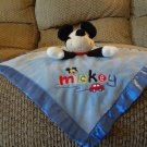 "Disney Baby Black Mickey Mouse Rattles Car Blue Microfleece Satin Security Blanket 14 ""x14"""