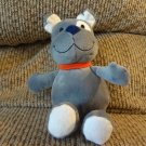 "Carters Just One You #63050 Blue Eyes Gray Puppy Dog Spot On Eye Orange Collar Lovey Plush 9"""