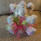 "2001 The Bear Factory Gray Elephant Hot Pink Green TuTu Lovey Plush 11"""