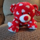 2011 WT Ty Pluffies Dreamly White Hearts Red Tylux Bear Lovey Plush 11""