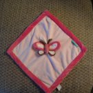 NWOT Tiddliwinks Pink Brown Green Butterfly Security Blanket Lovey 11x11