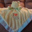 Carters Just One Year Blue Aqua Green Polka Dots Frog I Love Hugs Rattles Security Blanket