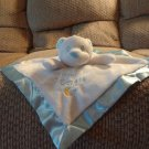 Baby Essentials Heaven Sent Polar Bear White Fleece Blue Satin Rattles Security Blanket Lovey Plush