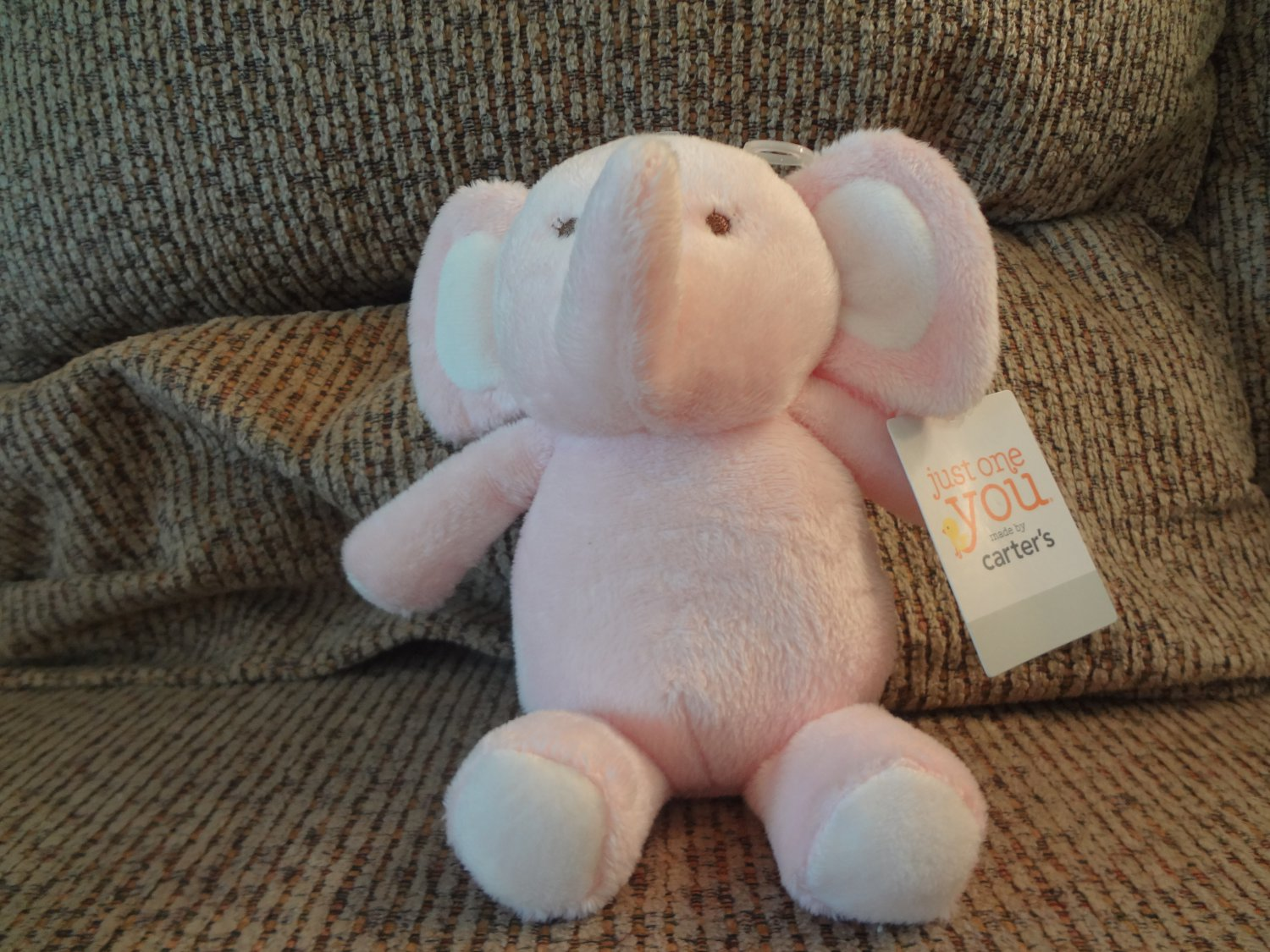 NWT Carters Just One You Pink Elephant Brown Sewn Eyes Lovey Plush 8""