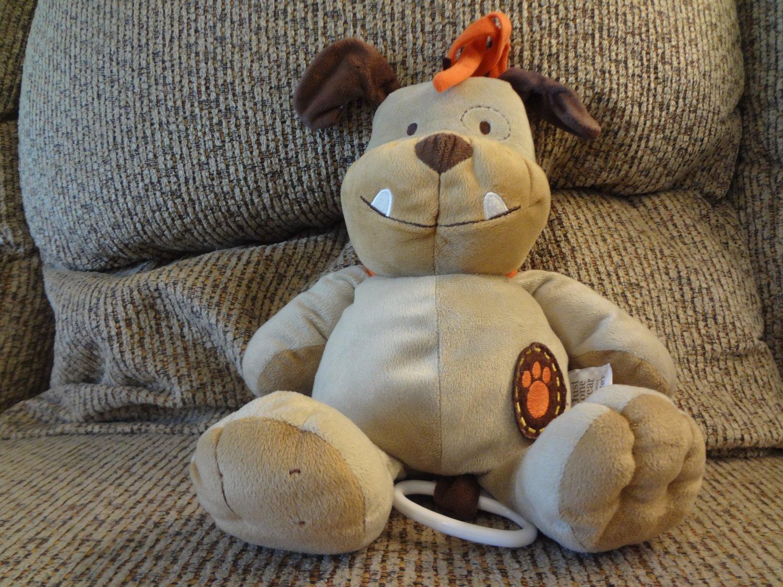 "Carters Just One Year Bulldog Puppy Dog Crib Pull Toy Musical Plush Orange Collar 14"""