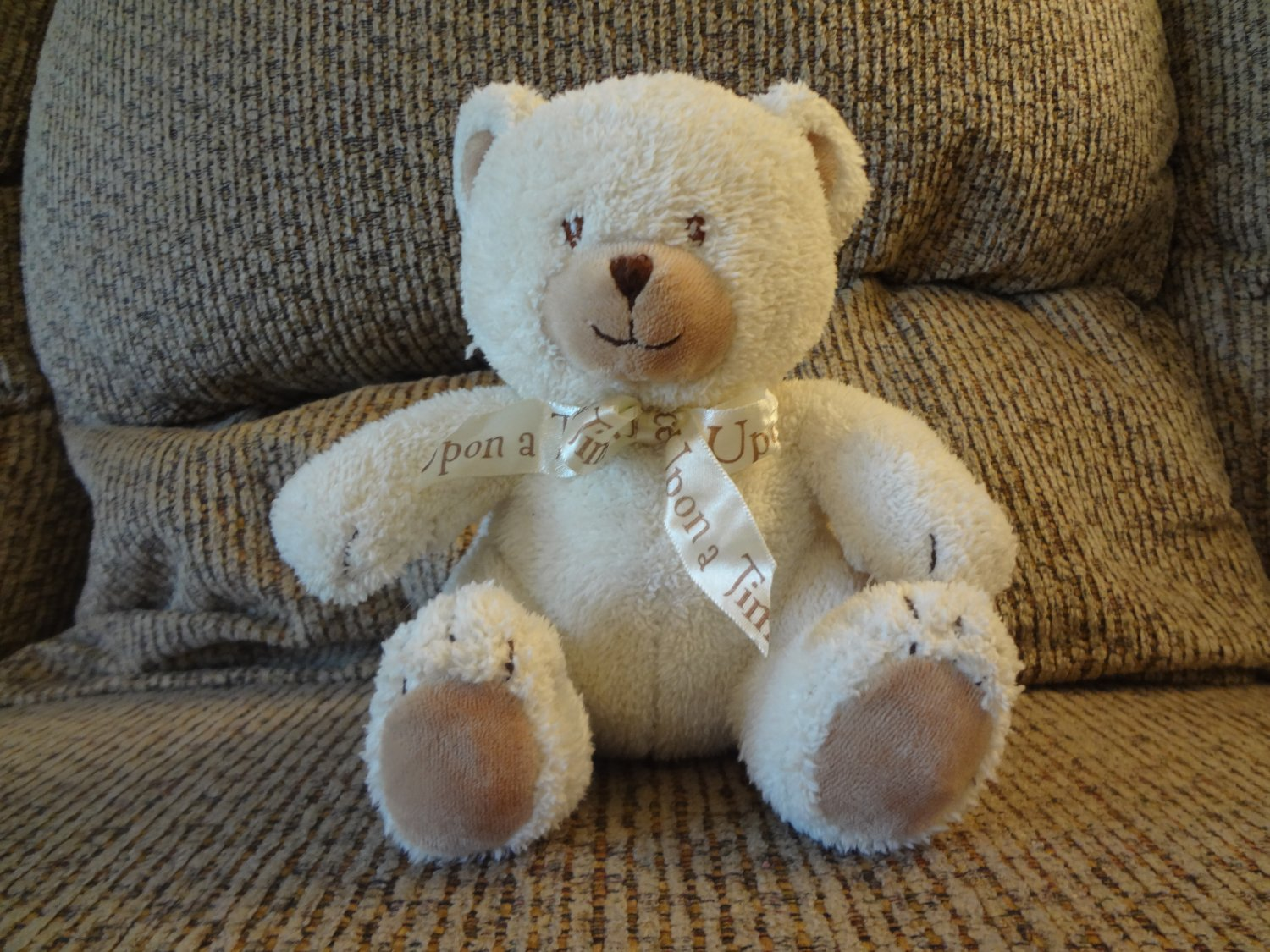 """Little Wonders Once Upon A Time Rattles Cream Terry Tan Velour Teddy Bear Lovey Plush 7"""""""