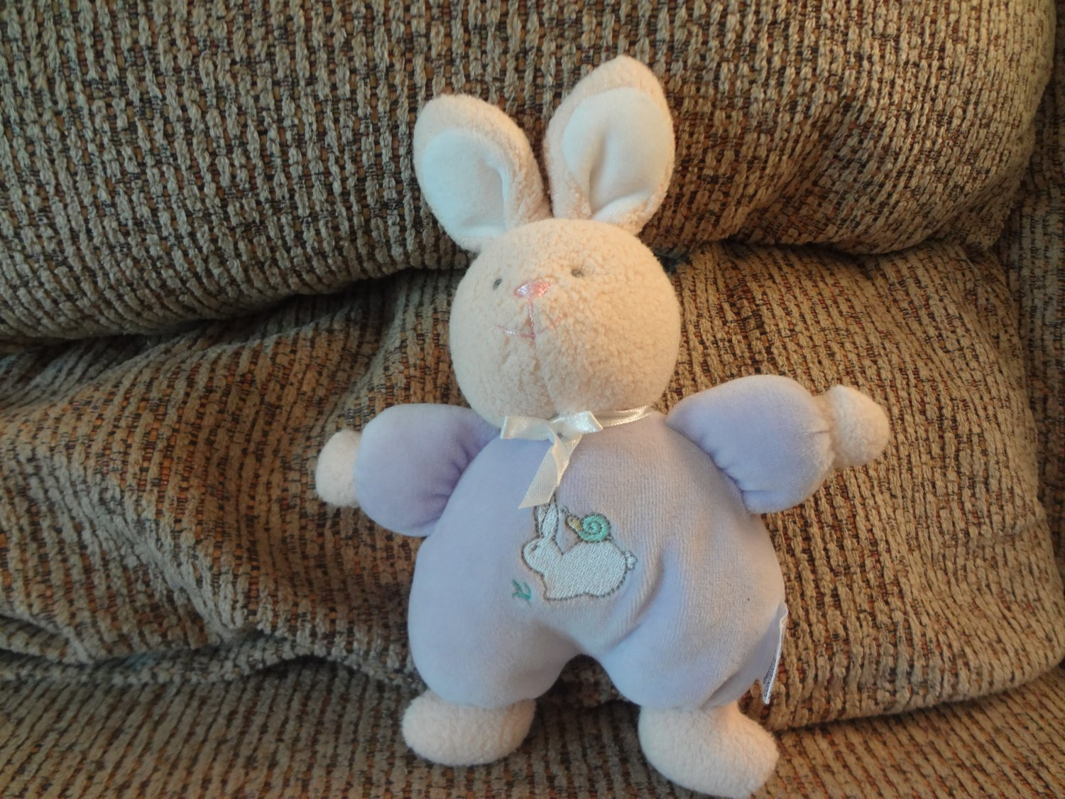 Soft Dreams #4005 Rattles Bunny Snail Lavender Pink Bunny Rabbit Lovey Plush 9""