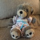 "Vintage 1993 Precious Moments Pajama Girl Blue Bows Teddy Bear Lovey Plush 15"""