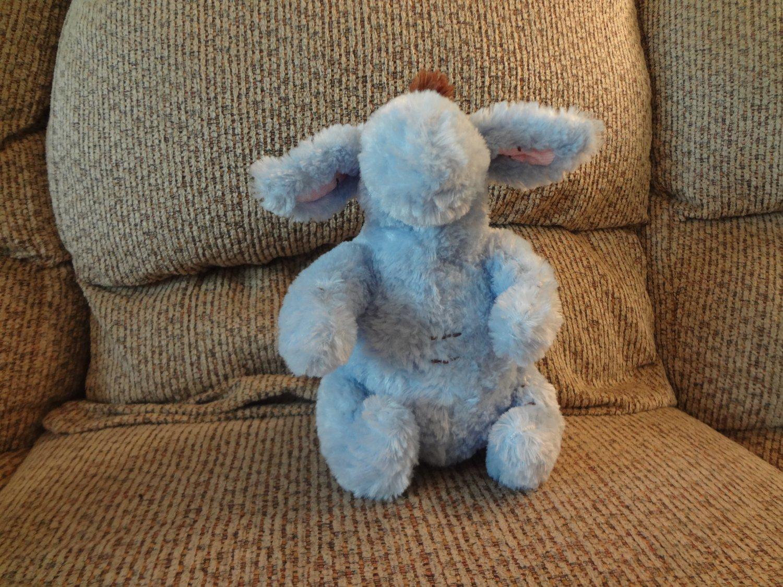 "Disney Winnie The Pooh Blue Brown Furry Eeyore Donkey Horse Lovey Plush 9"""