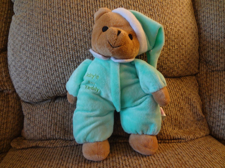 2006 Sugarloaf Baby's 1st Teddy Green White Pajama Nightcap Black Eyes Rattles Lovey Plush