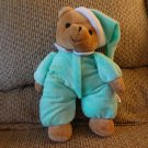 2006 Sugarloaf Baby's 1st Teddy Green White Pajama Nightcap Black Eyes Rattles Lovey Plush