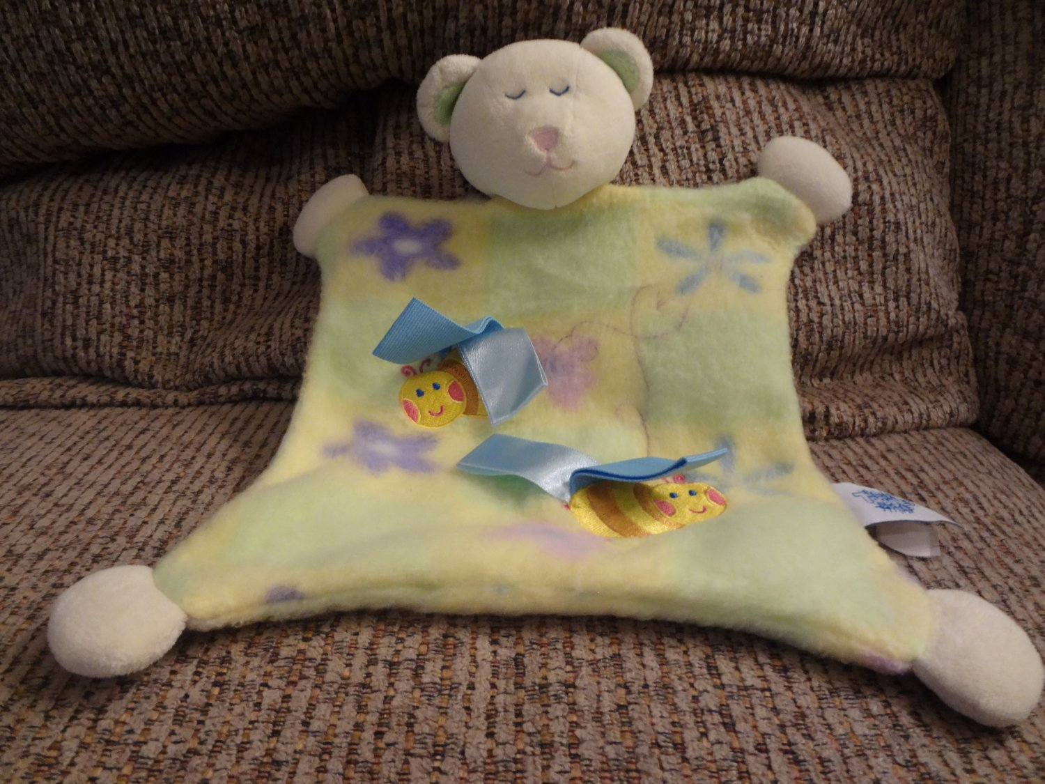 """Taggies Mary Meyer Baby Green Teddy Bear Bumble Bee Security Blanket Lovey Plush 10x10"""""""