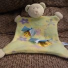 Taggies Mary Meyer Baby Green Teddy Bear Bumble Bee Security Blanket Lovey Plush 10x10""