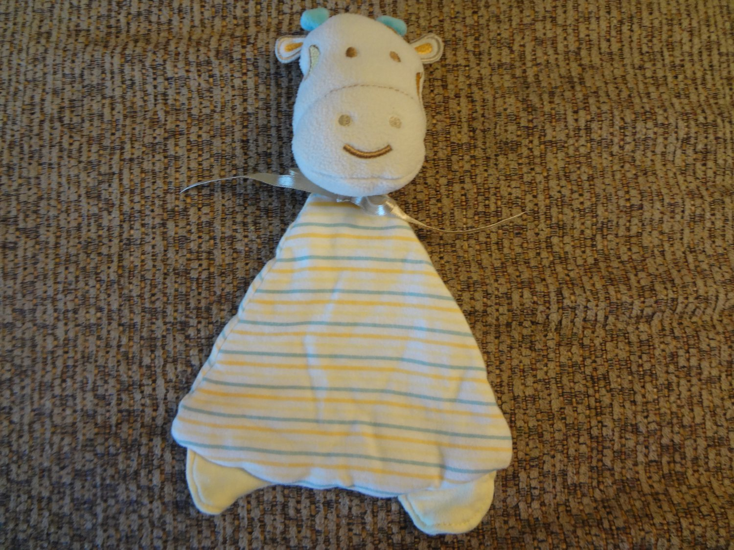 Baby Gear Plush Top Striped Blue Horns Yellow Feet Golden Satin Bow Giraffe Lovey Security Blanket