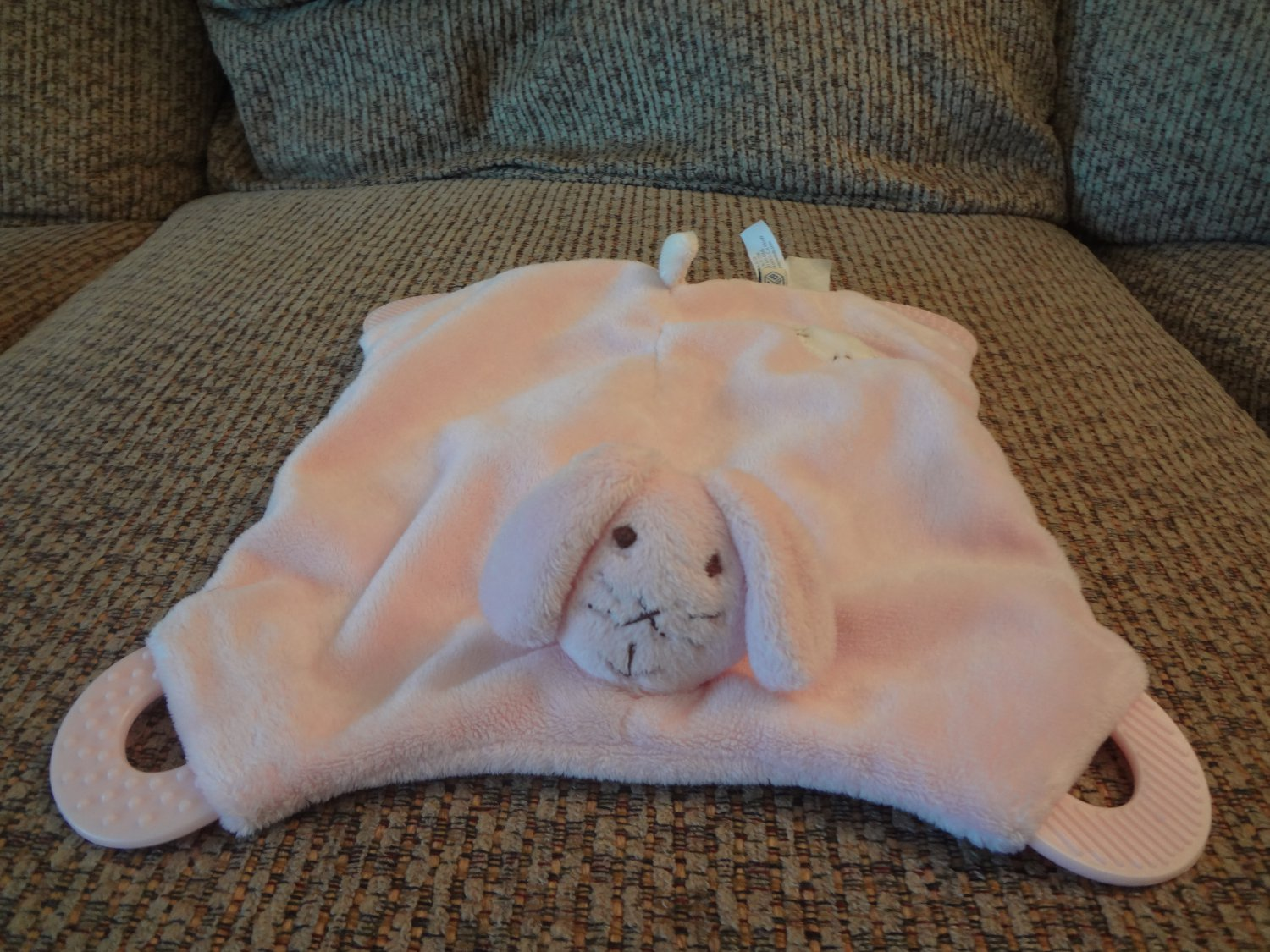 Pottery Barn Kids Pink Teether White Spot Lovey Bunny Rabbit Security Blanket Plush 8x8