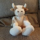 2001 Baby Boyds Collection Cream Brown Spotted Cow Rattles Lovey Plush 13""