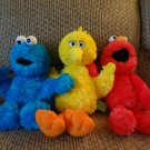 2002 Sesame Street Gund # 75351 Elmo # 75350 Big Bird #75352 Cookie Monster Lot Plush