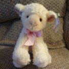 "1998 NWT Mary Meyer Popcorn Lamb White Cream Pink Gingham Bow 7"" Lovey Plush"