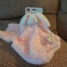 NWT Blankets And Beyond Lovey Pacifier Holder White Bunny Rabbit Pink Swirls Fur Security Blanket