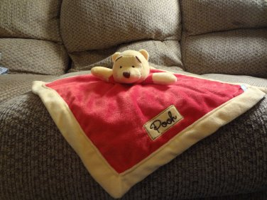 """Disney Baby Winnie The Pooh Red Gold Lovey Classic Pooh Security Blanket 13x13"""""""