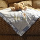 Carters Child Of Mine #F19962H Blue Baby Rattles Teddy Bear Lovey Security Blanket 14x15""