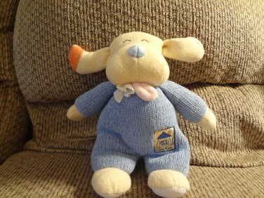 "2000 Emu Namae Carters #33749 Blue Knit Going Home Lovey Rattles Long Ear Puppy Dog Plush 11"""