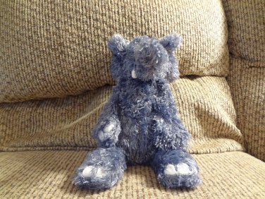 Jellycat Bunglie Elephant #JCINC1186 Gray Blue Fur Black Button Eyes Velour Tusks Lovey Plush 10""