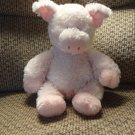 Aurora Black Button Eyes Pink Soft Fur Lovey Plush Pig 12""