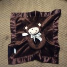 Carters Brown Rattle Lovey Monkey Striped Bow Security Blanket Plush 11x13""