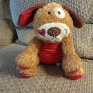 Mary Meyer Patchwork Red Black Stripes Heart Lovey Brown Cream Puppy Dog  Plush 11""