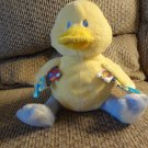 Mary Meyer Taggies Lovey Yellow Blue White Clouds Stars Wind Up Duck Brahms Plush 9""